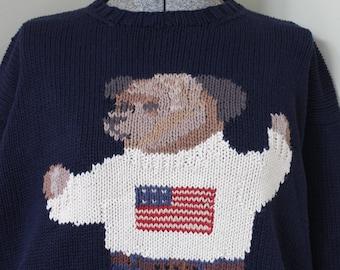 Ralph Lauren Bär Pullover amerikanische Flagge Pullover blau Baumwolle Polo Hand stricken Pullover patriotischen Bär Teddybär RL rot, weiß und blau Vintage