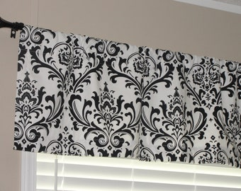 """Premier Prints Black and White Damask Valance 50"""" wide x 16"""" long Lined or Unlined"""