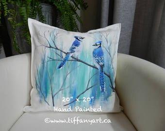Hand painted pillow, Blue Jay pillow, bird pillow, Blue Jay gift, Blue Jay decor, Blue Jay cushion, love bird pillow, personalized gift