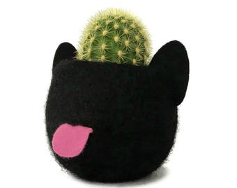 Animal Planter. Felt Planter. Black Cat. Plant Pot. Kitten Planter. Cactus Pot. Animal Plant Pot. Best Friend Gift. Cat Lover Gift