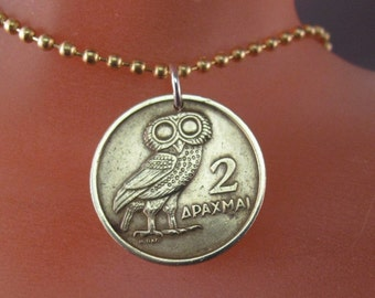 greek COIN JEWELRY. coin necklace. owl coin. 1973.  bird jewelry. Greece. mens jewelry. good luck jewelry No.00676