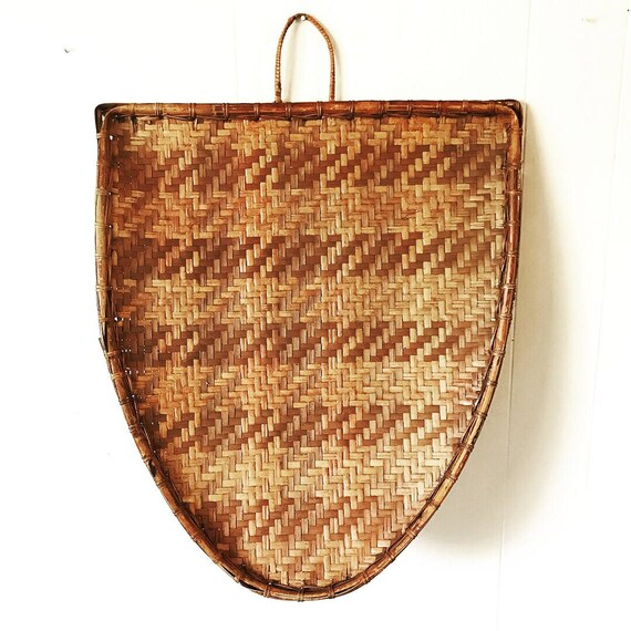 large bamboo shield tray - woven wall basket - brown boho wall decor