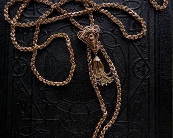 Victorian Gold Guard Chain Necklace with Enamel and Tassel. 14k Slide, 12k Chain. 60 inches.