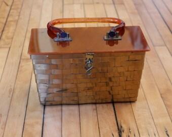 1950s Vintage LUCITE Box Purse Dorset Rex Gold Tone 1950s Vintage Purse Basket Weave