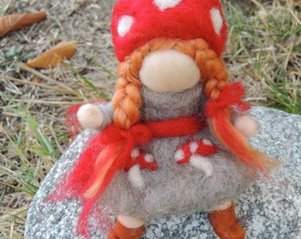 Wee Forest Girl in Gray-  Gnome - Needle felted soft sculpture - Elsa Beskow and Waldorf Inspired by Rebecca Varon