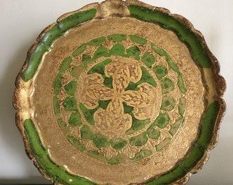 Vintage Florentine Gilded Wood Round Tray Renaissance Style Italian 1950s