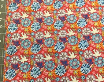 Frida Doves Fabric Coordinate Red Bkg 1 Yard