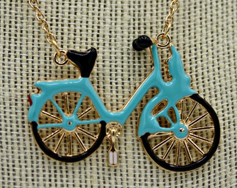 Teal Bicycle Bike Necklace Pendant on 28 Inch Gold Chain