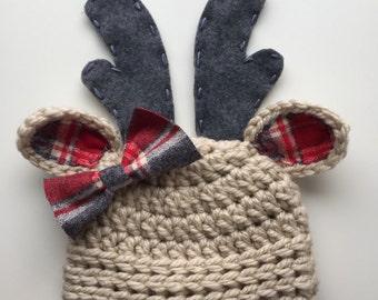 baby hat, newborn girl hat, deer hat, newborn deer hat, baby girls hat, crochet deer hat, baby deer hat, reindeer hat, Christmas deer hat