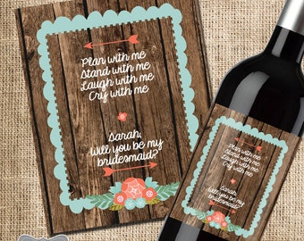 will you be my bridesmaid wine label, bridesmaid wine bottle label, wedding party favor, wedding party gift, bridesmaid photo label, wine