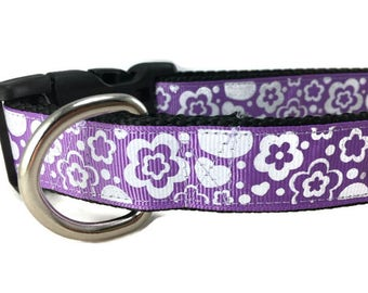 Dog Collar, Purple Flowers, 1 inch wide, adjustable, quick release, metal buckle, chain, martingale, hybrid, nylon