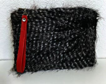 SALE, Clutch Bag, Black Faux Fur Wristlet, Date Night Clutch, Party Clutch Bag, Evening Clutch Faux Fur, Party Purse, Make-Up Bag