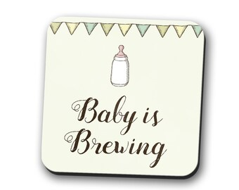 Baby is Brewing Coaster Green