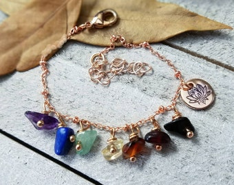 rose gold anklet - yoga chakra anklet - yoga jewelry - rose gold ankle bracelet - gemstone chakra - rose gold jewelry - lotus flower charm