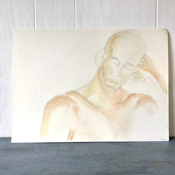 vintage original watercolor painting - nude human study - bald male head torso - peach sepia