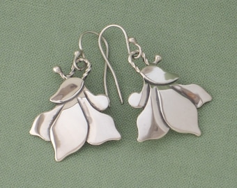 Floral Earrings - Sterling Silver - Free Shipping