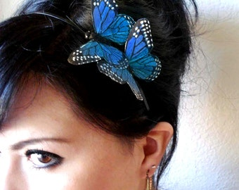 blue butterfly headband - bohemian hair accessory - woodland hair piece - bridal hair accessory - whimsical headband - butterflies- BRANDY