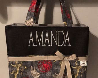 Personalized tote bag with lots of pockets made of Game of thrones fabric / dragon/ wolf