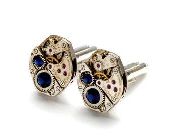 Steampunk Cufflinks SAPPHIRE BLUE Gold Silver SOLDERED Steampunk Vintage Watch Cufflinks Steampunk Wedding Jewelry  by Victorian Curiosities