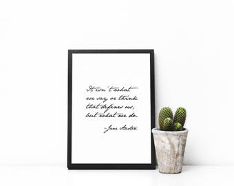 What Defines Us, Jane Austen, Printable Art, Wall Art, Digital Download, Black and White, Quote, Home Decor, Art, Modern