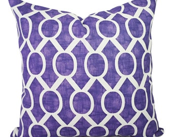 CLEARANCE One Purple Pillow Cover - Purple Geometric Throw Pillow Cover - Decorative Pillow Cushion Cover - Purple Pillow - Dorm Room Decor