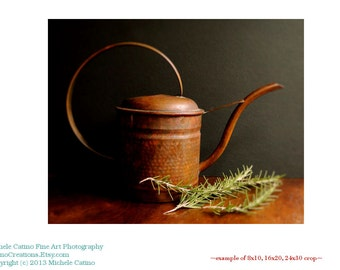 Copper Watering Can Still Life Photo Country Kitchen Photo Copper Green Herb Rosemary Early American Decor Dining Room Print