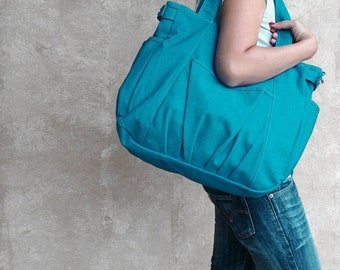 Mother s Day Big Sale IRIS // Teal / Lined with Beige / 054 // Ship in 3 days // Messenger / Diaper bag / Shoulder bag / Tote bag / Purse /