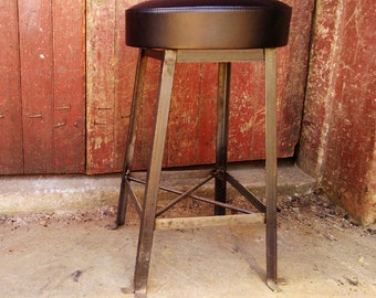 FREE SHIPPING - Vintage Style Clerk Stool with Upholstered Cushioned Seat