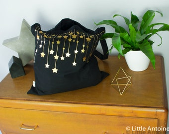 Tote Bag Black Star - rain of stars gold