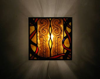 Ornamental stained glass wall light with fantasy painting