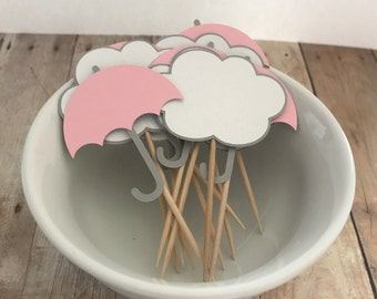 Cloud Umbrella Baby Shower Cupcake Picks in Pink, Grey and White, Set of 12 - Baby Girl, Baby Sprinkle, Birthday Party, Cupcake Topper