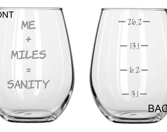 Me, Miles, Sanity. Running Glass  FREE Personalization