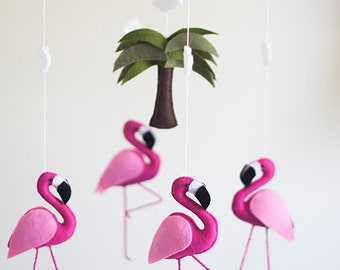Hot Pink Flamingo Baby Mobile, Baby Girl Mobile, Flamingo Nursery, Baby Girl Nursery, Wool Felt, Flamingo Birthday Party Baby Shower Gift