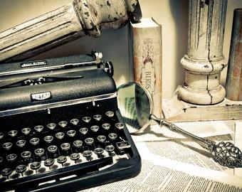 Photography Still Life, vintage typewriter, Royal typewriter, retro office, books, magnifying glass, sepia, neutral, Fine Art Print