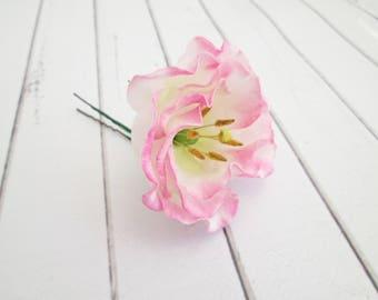 Pink Lisianthus Flower Hair Pin - Eustoma Floral Hair Accessories - Pink Flower Hair Pins - Wedding Flower Hair Accessories - Flower Clips