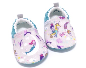 Mermaid Baby Shoes, Soft Sole Baby Shoes, Aqua Baby Booties, Toddler slippers, baby shoes girl, Mermaid baby gift