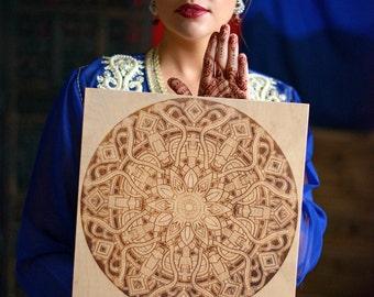 Mandala Pyrography Art, Spiritual Pyrography, Hypnotizing Wall Art For Meditation, Wood Burned Birthday Gift, Gift for Him, Gift for Her