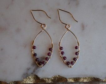 handmade wire wrap earrings, 14k gold-filled wire and small round garnets