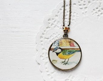 Bird Vintage Art Round Pendant Necklace - Blue Tit on the Snow