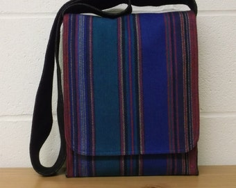 Blue Stripe Wool Messenger Bag