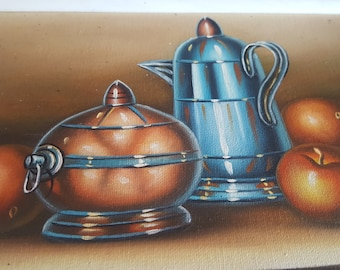 ON SALE, Fruit Art, Teapot Art, Original Painting, Oil Painting, Small Panting, Wall Decor, Art Collectibles, Home decor, Fruit Painting