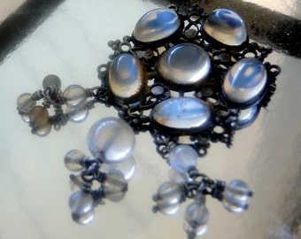 Antique Moonstone Silver Brooch Dangles Arts and Craft Movement