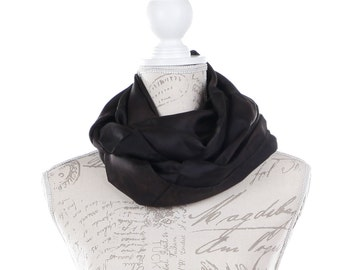Black Infinity silk scarf / black silk circle scarf/ black loop scarf scarf/ Hand dyed / 100% habotai silk / scarves for women