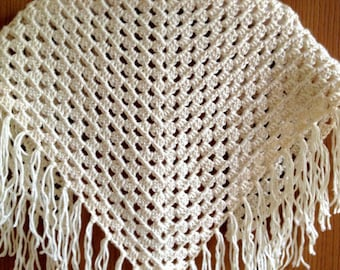 Shawl ~ Crochet Shawl Shrug ~ Boho Shawl ~ Wedding Shawl ~ Prayer Shawl ~  fringed shawl wrap ~ off white shawl