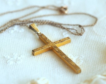 Vintage Gold Filled Cross Necklace - Christian Pendant with Ornate Carved Design - GF Chain Jewelry