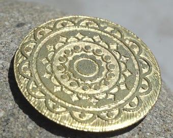 Mandala Disc Acid Etched Pair 45mm Brass