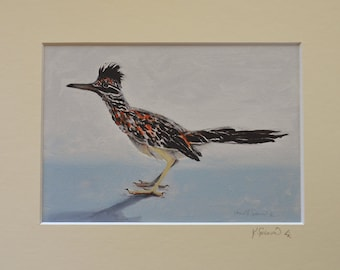 A Moment of Stillness - roadrunner reproduction from an original oil painting matted