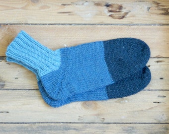 Hand Knitted Wool Socks man for him jeans blue urban stripe - made to order