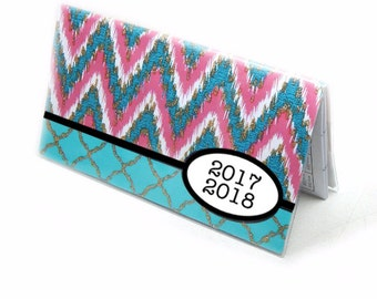 2018 - 2019 mini Planner - ikat chevron, turquoise hot pink, pocket planner - 2 year monthly calendar HORIZONTAL FORMAT stocking stuffer