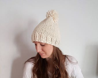 Knit Pom Pom Hat, Chunky Knit Hat, Chunky White Pom Pom Hat, Ivory Knit Wool Hat Hartley Hat Fisherman